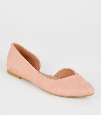 Girls Pink Faux Snake Panel Ballet Pumps
