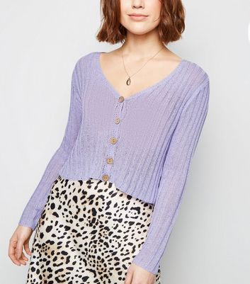 Lilac Ribbed Fine Knit Cardigan