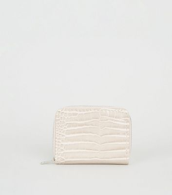 Nude Faux Croc Card Holder