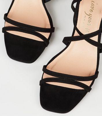 Black Suedette Strappy Heel Sandals
