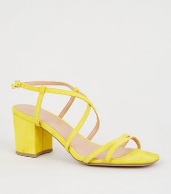 Wide Fit Yellow Suedette Strappy Heel Sandals