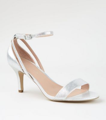 Wide Fit Silver Low Heel Sandals