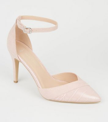 Wide Fit Nude Pointed Mixed Court Shoes