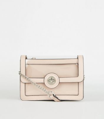 Pink and Clear Cross Body Bag