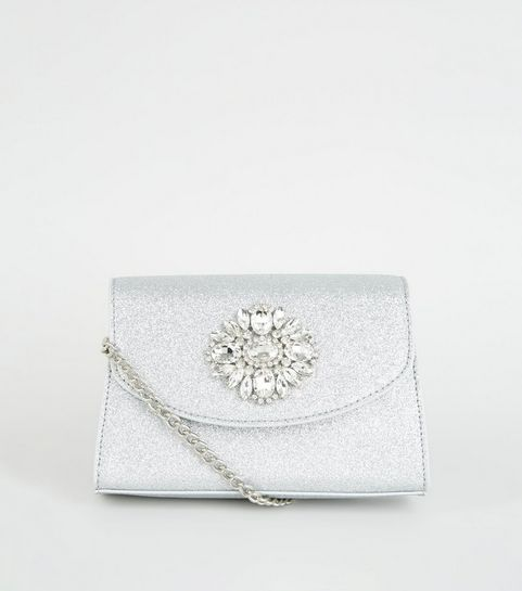 3e10dcb75f Silver Glitter Brooch Shoulder Bag · Silver Glitter Brooch Shoulder Bag ...