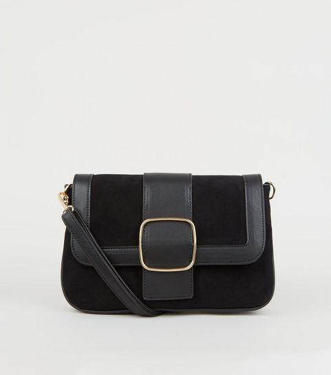 8395a0c7ac ... Black Suedette and Leather-Look Buckle Shoulder Bag ...