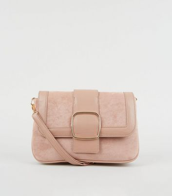 Pink Suedette and Leather-Look Buckle Shoulder Bag