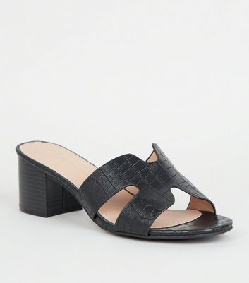 Wide Fit Black Faux Croc Block Heel Mules