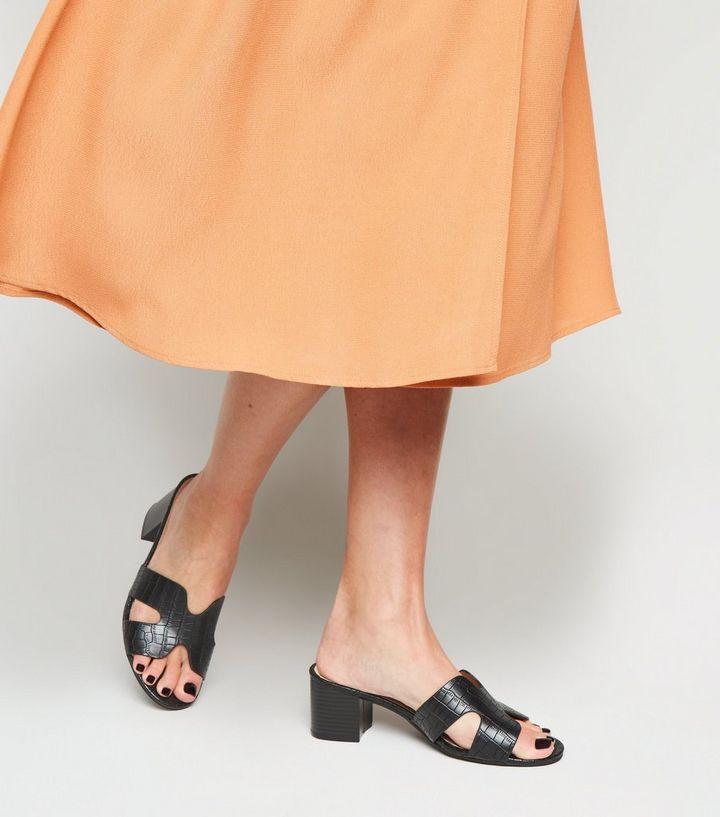 83ca39d089c373 ... Black Faux Croc Block Heel Mules. ×. ×. ×. Shop the look