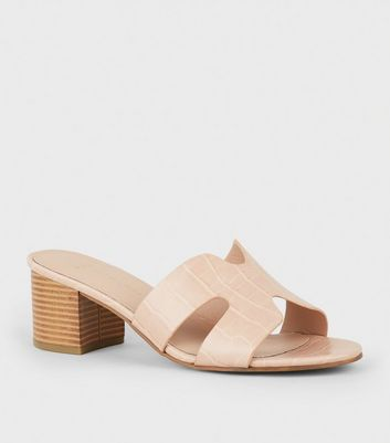 Wide Fit Nude Faux Croc Block Heel Mules