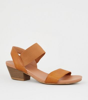 Wide Fit Tan Leather-Look Low Heel Sandals