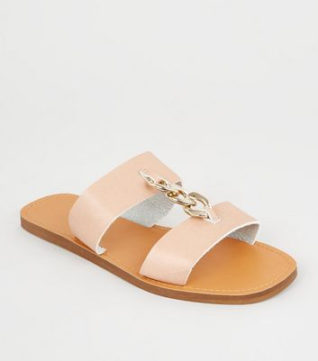 Wide Fit Nude Chain Strap Sliders