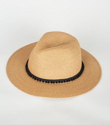 Tan Pom Pom Trim Straw Effect Fedora