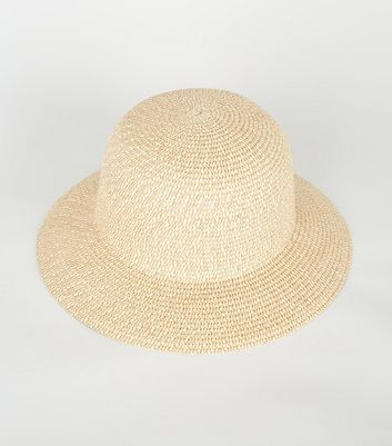 Stone Woven Straw Effect Bucket Hat