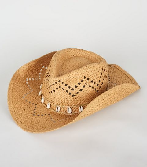 508f0ffa499 ... Stone Straw Effect Shell Trim Cowboy Hat ...