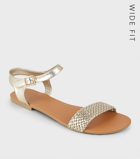 d343fe09faa ... Wide Fit Gold Woven Strap Flat Sandals ...