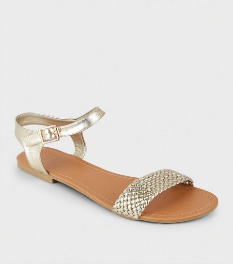 404db2872cb4 ... Wide Fit Gold Woven Strap Flat Sandals ...