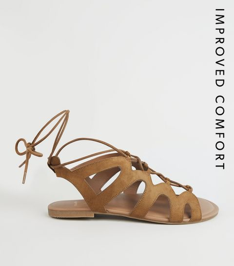 595aec2253ff ... Wide Fit Tan Lace Up Ghillie Sandals ...