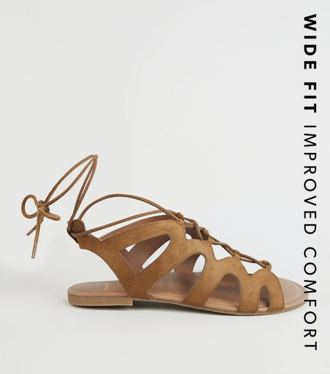 9b2fed11072e ... Wide Fit Tan Lace Up Ghillie Sandals ...