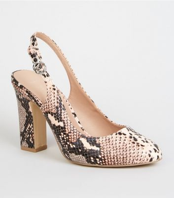 Wide Fit Pink Faux Snake Block Heel Slingbacks