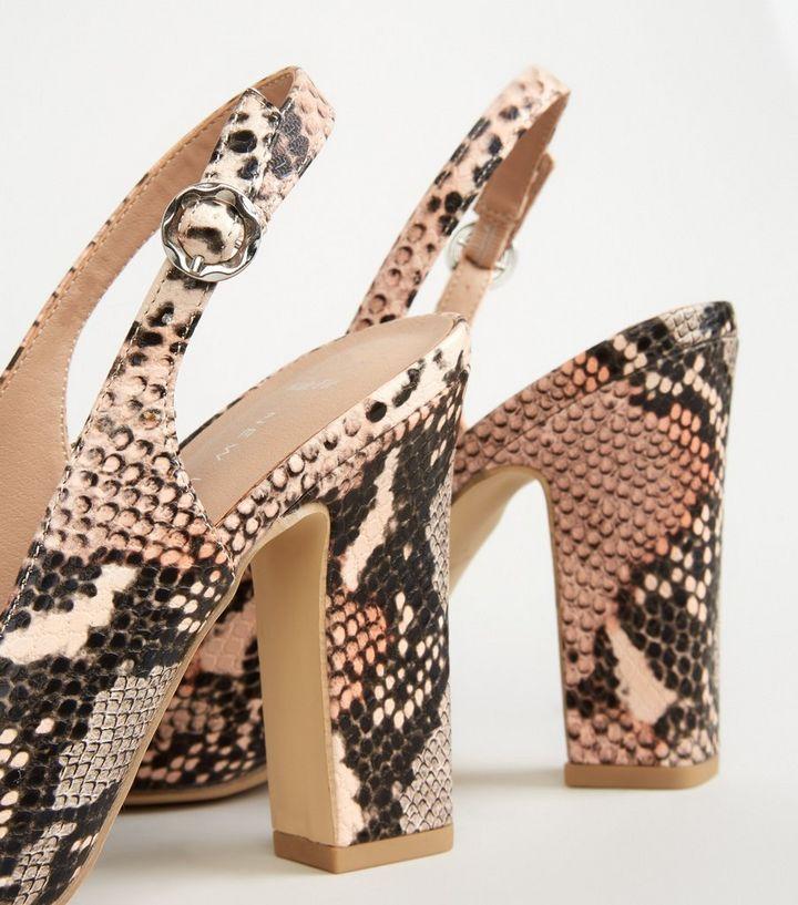 25eed2e990 ... Wide Fit Pink Faux Snake Block Heel Slingbacks. ×. ×. ×. Shop the look