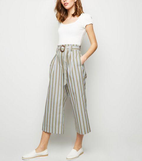 8964c8ec0b21 ... Khaki Woven Stripe Ring Buckle Crop Trousers ...