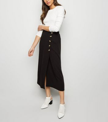 Black Linen Look Button Up Midi Skirt by New Look