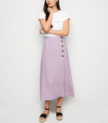 Lilac Linen Look Button Up Midi Skirt by New Look