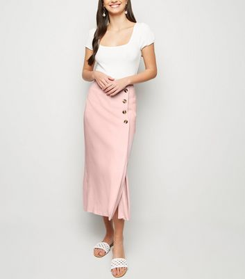 Pale Pink Linen Look Button Up Midi Skirt