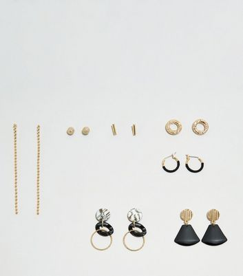 WANTED 7 Pack Gold and Black Earrings