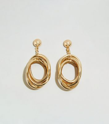 WANTED Gold Triple Loop Earrings