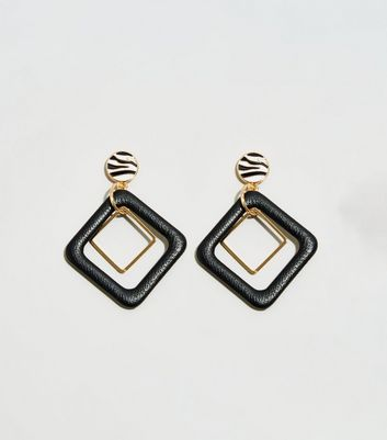 WANTED Black Layered Drop Square Earrings