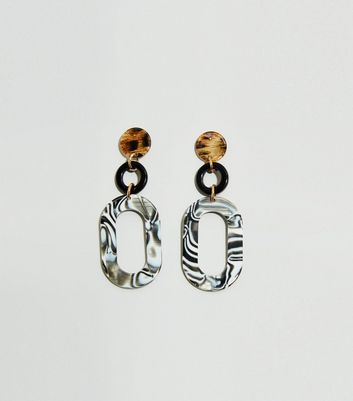 Multicoloured Mixed Animal Print Drop Resin Earrings