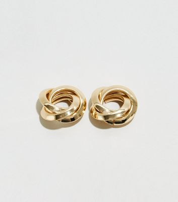 WANTED Gold Twist Knot Stud Earrings
