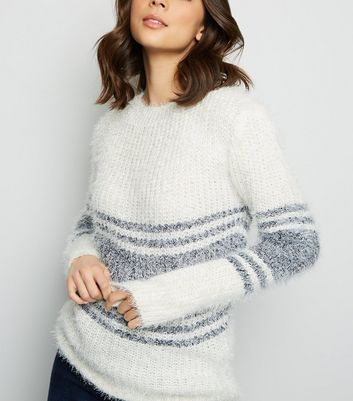 Blue Vanilla Navy Stripe Fluffy Jumper