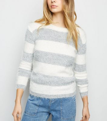 Blue Vanilla Grey Stripe Fluffy Jumper