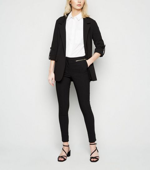 baebd22605 ... Black Zip Pocket Skinny Stretch Trousers ...