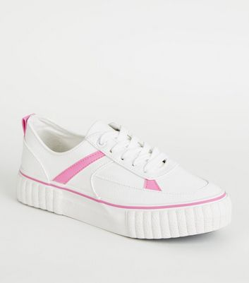 Girls White Neon Panel Flatform Trainers