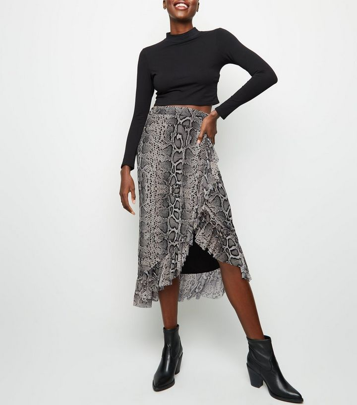 a3fc85563 Black Snake Print Mesh Midi Skirt | New Look