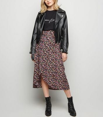 Black Bright Floral Wrap Midi Skirt