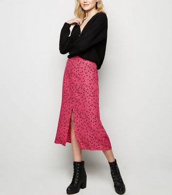 Pink Ditsy Floral Button Front Midi Skirt