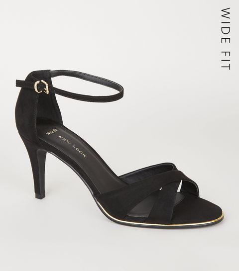 25af2a63a6b ... Wide Fit Black Suedette Cross Strap Heels ...