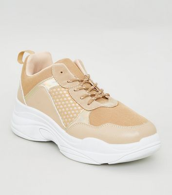 Nude Colour Block Chunky Sole Trainers