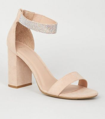 Wide Fit Nude Diamanté Ankle Strap Sandals