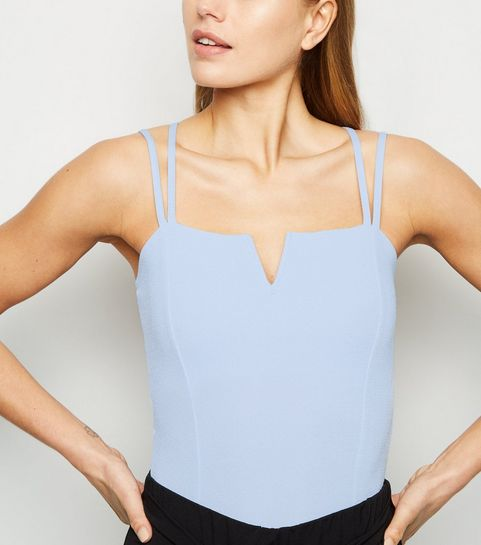 ... Pale Blue Notch Neck Cross Back Bodysuit ... 320cf366e