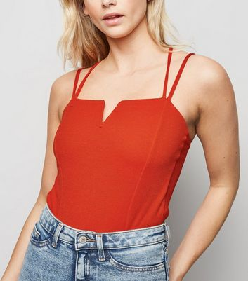 Red Notch Neck Cross Back Bodysuit