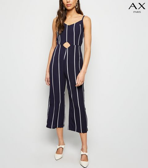 eead22438 ... AX Paris Navy Stripe Waist Cut Out Jumpsuit ...