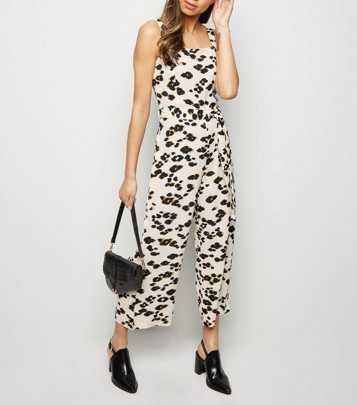 5f3e29c02f8 AX Paris Off White Leopard Print Culotte Jumpsuit