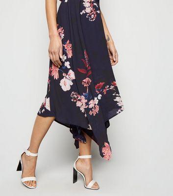 AX Paris Blue Floral Hanky Hem Dress New Look