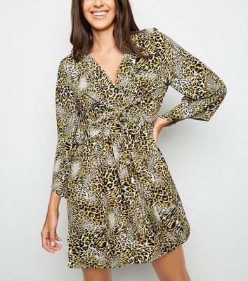 AX Paris Yellow Leopard Print Wrap Dress